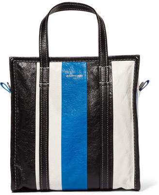 Balenciaga Bazar Small Striped Textured-leather Tote - Blue