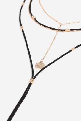 Topshop Cord and Charm Multirow Necklace