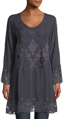 Johnny Was Robin Long Embroidered Georgette Tunic