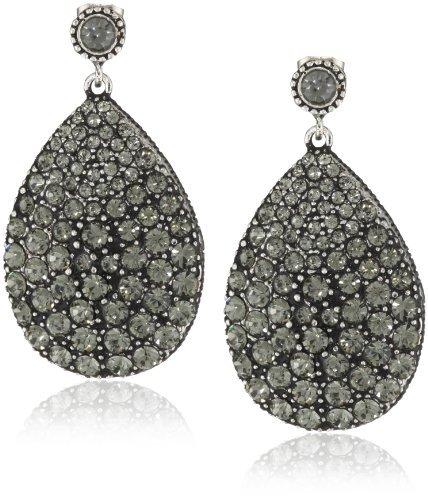 "Azaara Crystal"" Silver Plate Auron Drop Earrings"