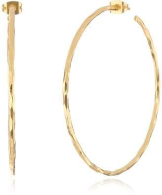 Argentovivo Tone Large Hammered Hoop Earrings