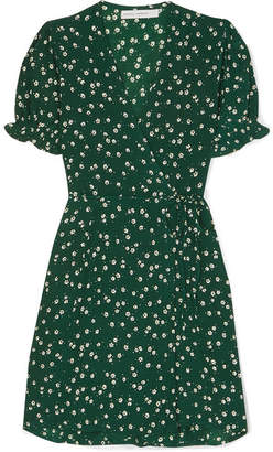 Faithfull The Brand Mira Floral-print Crepe De Chine Wrap Mini Dress - Dark green
