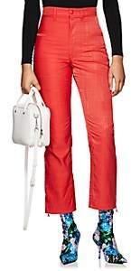 Marine Serre Women's Moiré High-Waist Pants-Red