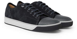 Lanvin Dbb1 Cap-Toe Suede And Textured-Leather Sneakers