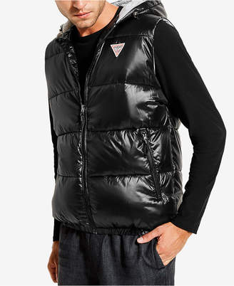 GUESS Mens Logan Hooded Puffer Vest