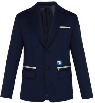 Prada Logo Single Breasted Blazer - Mens - Navy