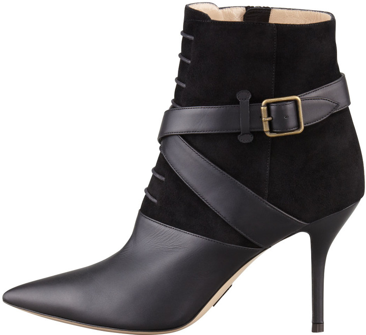 Paul Andrew Alimar Suede/Leather Pointy Ankle Boot, Black