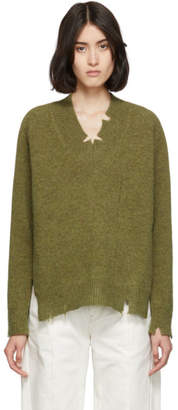 Maison Margiela Green Destroyed V-Neck Sweater