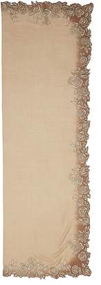 Janavi 'Blossoming Lotus' embroidered cashmere scarf