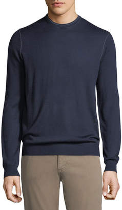 Neiman Marcus Men's Crewneck Long-Sleeve Pullover Sweater w/ Tipping