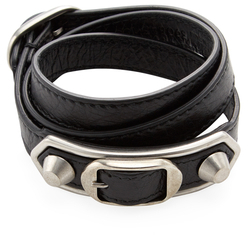 Balenciaga  Studded Double Buckle Leather Wrap Bracelet