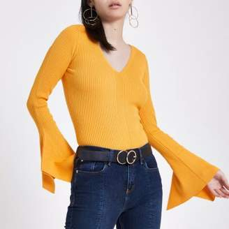River Island Yellow knit V neck flute sleeve top