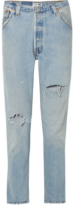 RE/DONE + Levi's Distressed High-rise Slim-leg Jeans - Light blue