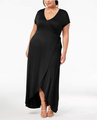Planet Gold Trendy Plus Size Faux-Wrap Maxi Dress