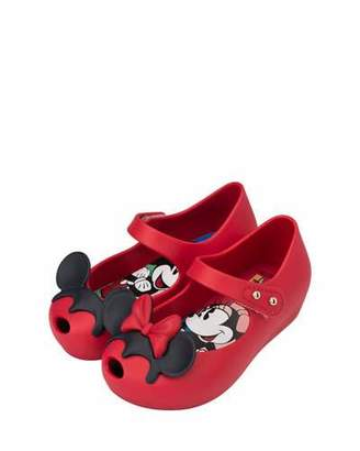 Mini Melissa Ultragirl + Disney® Twins II Mary Jane Flat, Red, Toddler $65 thestylecure.com
