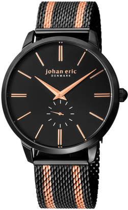 Johan Eric Men's Kolding Watch w/ Mesh Strap, Black/Rose Golden