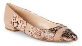Nine West Snakeskin-Print Point Toe Flats