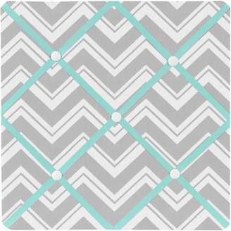 JoJo Designs Turquoise and Gray Chevron Zig Zag Fabric Memory/Memo Photo Bulletin Board by Sweet