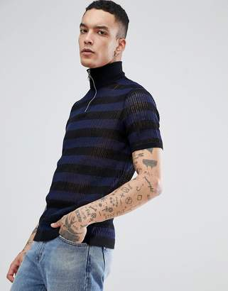 Asos DESIGN knitted turtleneck t-shirt with zip in navy stripes