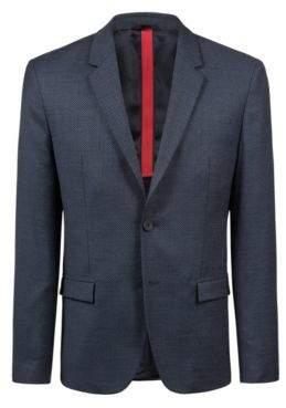 HUGO Boss Slim-fit blazer all-over micro pattern 36R Dark Blue