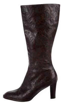 Oscar de la Renta Leather Textured Boots