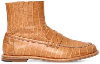 Loewe 10mm Croc Embossed Leather Loafer Boots