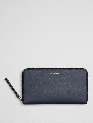 Calvin Klein Calvin Klein Womens Faux Leather Large Zip Wallet Ombre Blue