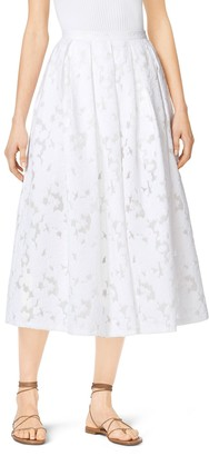 Michael Kors Pleated Floral Fil Coupe Dance Skirt