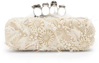 Alexander McQueen Knuckle faux-pearl leather box clutch