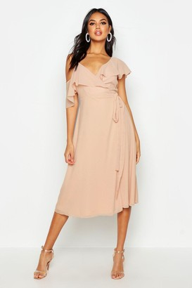 f76ed214f5 boohoo Chiffon Cold Shoulder Wrap Midi Skater Dress