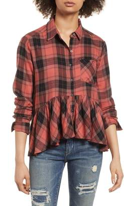 BP Plaid Peplum Shirt