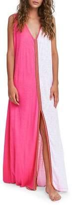 Pitusa Lara Two-Tone Split-Front Coverup Maxi Dress