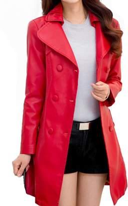 Helan Apparel Helan Women's Double Breasted PU Leather Coat US