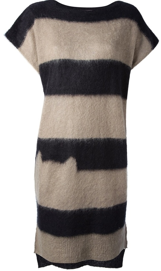 Tsumori Chisato Cats By striped knitted tube dress