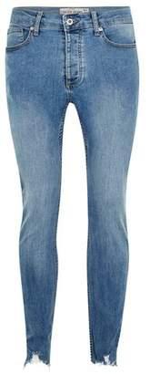 Topman Mens Powder Blue Raw Hem Stretch Skinny Jeans