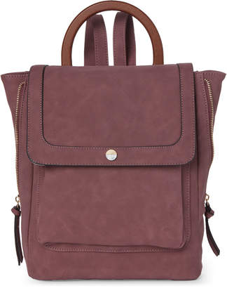 Violet Ray Wine Flap Ring Handle Backpack