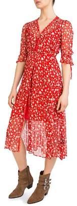 The Kooples Rosa Rosa Floral-Print Midi Wrap Dress