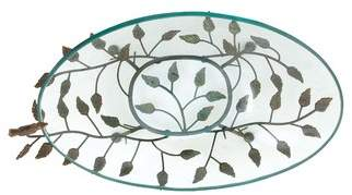 Cole & Grey Glass and Metal Serving Bowl