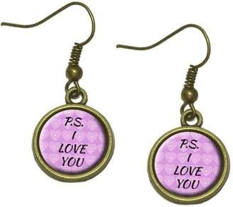 Proenza Schouler Made On Terra I Love You on Pink Hearts Pattern Dangle Dangling Drop Earrings