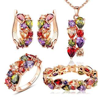 Swarovski Manufac Multiple with Elements Crystal Wedding Bridal Jewelry Set Necklace and Earrings and Bracelet and Ring Set for Women