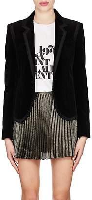 Saint Laurent Women's Ribbon-Trimmed Velvet Blazer - Black