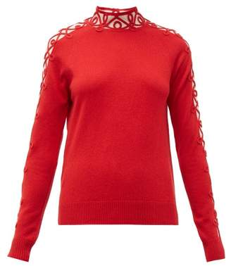 Fendi Tulle Panel Cashmere Blend Sweater - Womens - Red