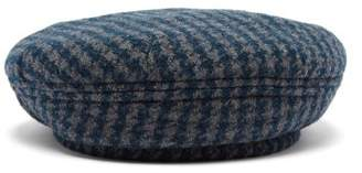Maison Michel Flore Dogstooth Wool Blend Beret - Womens - Blue