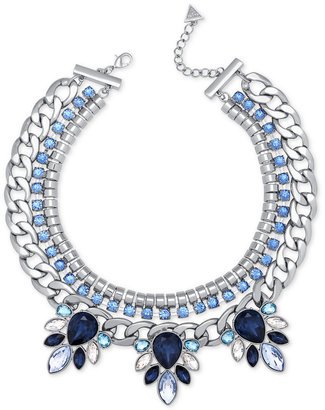 GUESS Silver-Tone Blue and Clear Crystal Statement Necklace $75 thestylecure.com