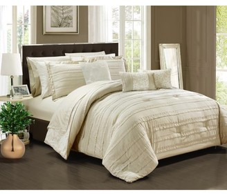 BEIGE Chic Home 10-Piece Zarina Complete ruffles and Reversible Printed Queen Bed In a Bag Comforter Set Sheets Included