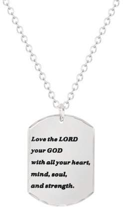 """AMERICAN STEEL American Steel Stainless Steel Jewelry, Love The Lord Inspirational Dog Tag, Religious Pendant, 18"""" Chain Necklace"""