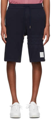 Thom Browne Navy Chunky Honeycomb Pique 4-Bar Shorts