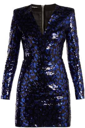 Balmain Leopard sequinned mini dress