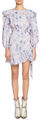 Etoile Isabel Marant Telicia Printed Linen Ruffle Belted Dress
