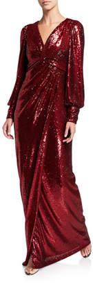 Rickie Freeman For Teri Jon Sequin V-Neck Long-Sleeve Shirred Empire Waist Gown